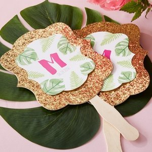 Personalized Pineapples & Palms Glitter Hand Fan (Set of 12) image