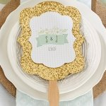 Personalized Rustic Gold Glitter Hand Fan Favors (Set of 12)
