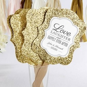 All That Glitters Personalized Gold Hand Fans (Set of 12) image