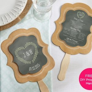 Kraft Paper Personalized Hand Fans (Set of 12) image