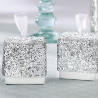 Sparkle and Shine Silver Glitter Favor Boxes (Set of 24)