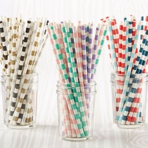 Color Stripe Paper Party Straws (Set of 25) image