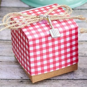 Red Gingham Favor Box with Spatula Charm (Set of 24) image