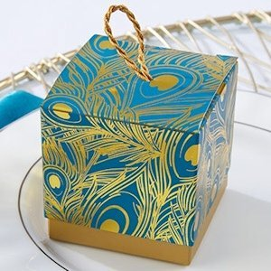 Foil Peacock Feathers Favor Boxes (Set of 24) image