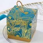 Foil Peacock Feathers Favor Boxes (Set of 24)