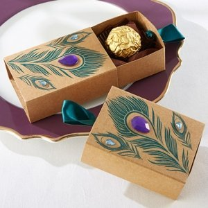 Jeweled Peacock Kraft Favor Boxes (Set of 24) image
