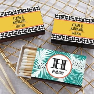 Personalized Tropical Chic Black Matchboxes (Set of 50) image