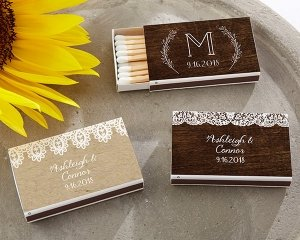 Personalized Rustic Charm White Matchboxes (Set of 50) image