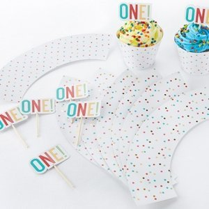 1st Birthday Cupcake Kit Toppers and Wrappers image