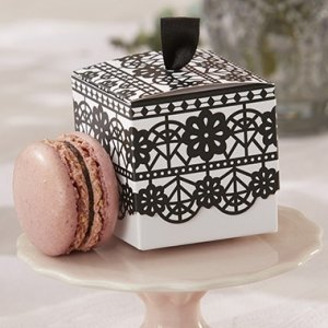 Black Lace Print Favor Box (Set of 24) image
