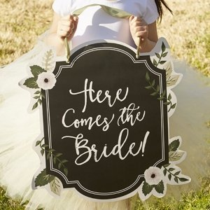 Romantic Garden Here Comes the Bride Sign image