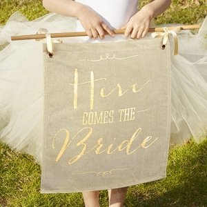 Gold Foil Here Comes the Bride Sign image