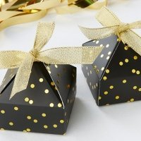 Black With Gold Foil Dot Pyramid Shaped Favor Box (Set of 24