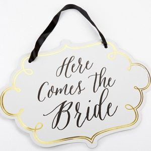 Classic Gold Foil Here Comes the Bride Sign image