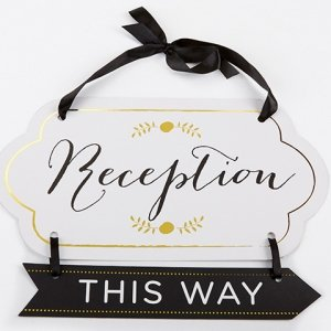 Classic Gold Foil Directional Reception Sign image