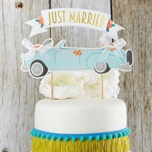 Just Married Vintage Car Cake Topper image