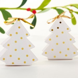 Gold Dotted Christmas Tree Favor Box (Set of 12) image
