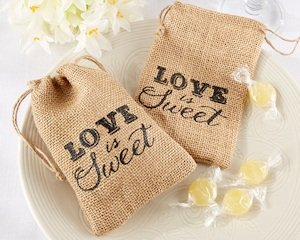 Love is Sweet Burlap Drawstring Favor Bags (Set of 12) image