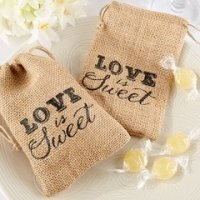 Love is Sweet Burlap Drawstring Favor Bags (Set of 12)