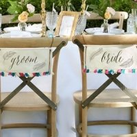 Feathers & Tassels Bohemian Bride and Groom Chair Signs