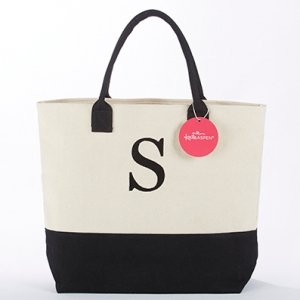 Classic Black and White Monogrammed Tote Bag image