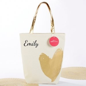 Metallic Gold Heart Tote Bag image