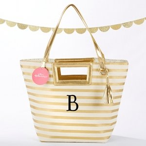 Striped Metallic Gold Tote With Tassel image