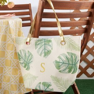 Pretty Palms Canvas Tote Bag With Gold Handles image