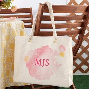 Watercolor Tote Bag With Rope Handles image