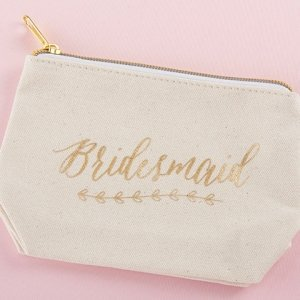 Gold Foil Bridesmaid Canvas Makeup Bag image