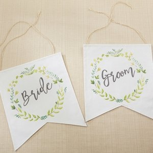 Botanical Canvas Bride and Groom Chair Signs image