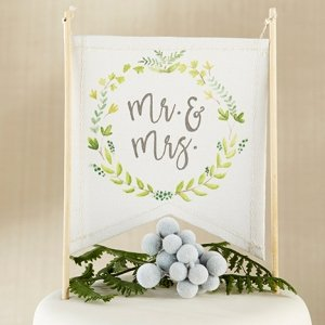 Botanical Canvas Mr. & Mrs. Cake Topper image