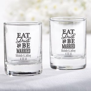Personalized Eat Drink & Be Married Shot Glass Votive Holder image
