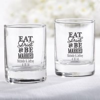 Personalized Eat Drink & Be Married Shot Glass Votive Holder