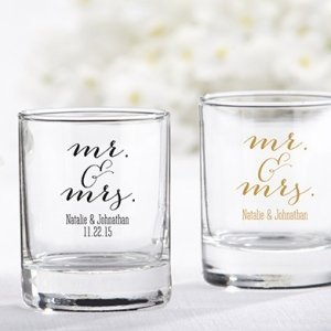 Personalized Mr. & Mrs. Shot Glass Votive Holder image