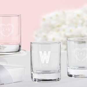 Rustic Theme Personalized Shot Glass or Votive Holder image
