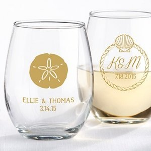 Personalized Beach Tides Stemless Wine Glass Favor image