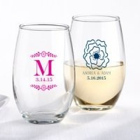 Personalized Botanical Stemless Wine Glass Favor