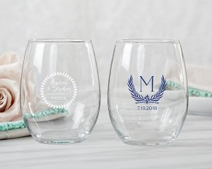 Personalized Botanical Garden 9 oz Stemless Wine Glasses image
