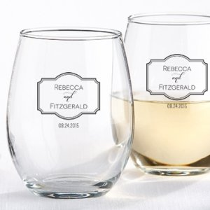 Personalized Classic Stemless Wine Glass Wedding Favors image