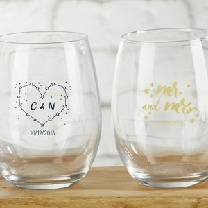 Personalized Under the Stars 9 oz Stemless Wine Glass image