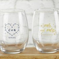Personalized Under the Stars 9 oz Stemless Wine Glass