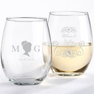 Personalized English Garden Stemless Wine Glass image