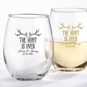 Personalized \'The Hunt is Over\' Stemless Wine Glasses