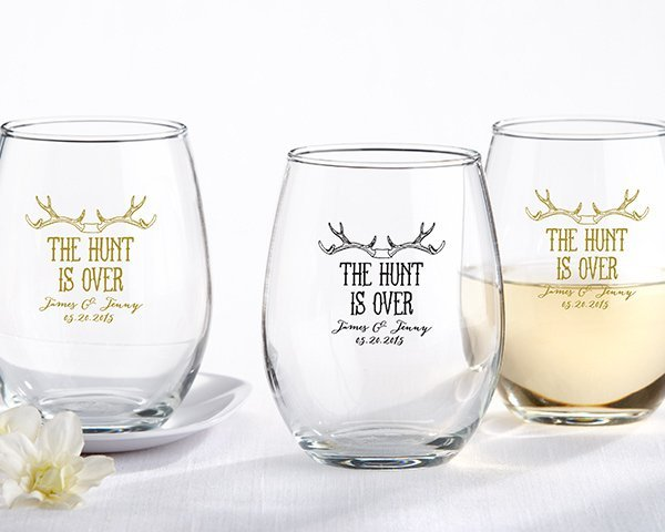 Personalized The Hunt is Over Stemless Wine Glasses