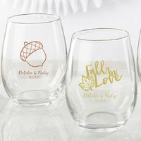 Personalized Fall Design 9 Oz. Stemless Wine Glass