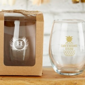 Personalized 9 oz Tropical Chic Stemless Wine Glass image
