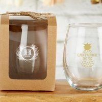 Personalized 9 oz Tropical Chic Stemless Wine Glass