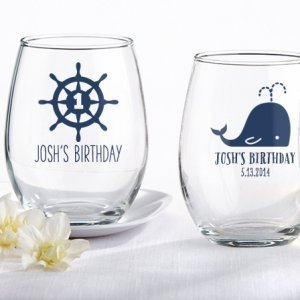 Personalized Nautical Birthday Stemless Wine Glasses image