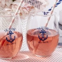 Personalized Nautical Bridal Shower Stemless Wine Glasses